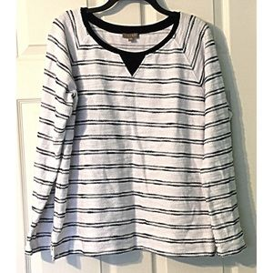 Lilla P Striped Pullover Sweatshirt Sweater Large